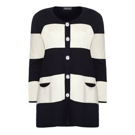 BEIGE LABEL STRIPE CARDIGAN NAVY - Plus Size Collection