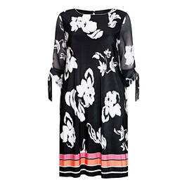 BEIGE LABEL GEORGETTE PRINT DRESS BLACK AND WHITE - Plus Size Collection