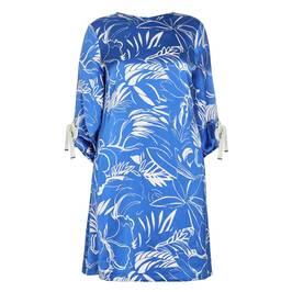 BEIGE LABEL FERN PRINT SATIN DRESS COBALT - Plus Size Collection