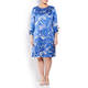 BEIGE LABEL FERN PRINT SATIN DRESS COBALT