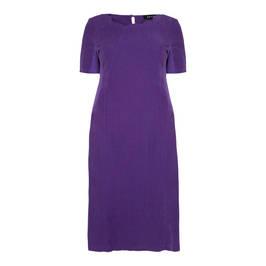 BEIGE LABEL SCALLOP NECK LINEN DRESS ULTRA VIOLET - Plus Size Collection