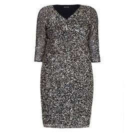 BEIGE SEQUIN DRESS BLACK - Plus Size Collection