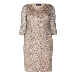 BEIGE SEQUIN DRESS BEIGE  - Plus Size Collection