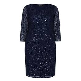 BEIGE LABEL SEQUIN DRESS NAVY - Plus Size Collection