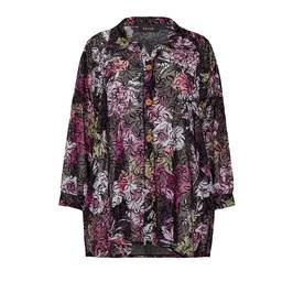 BEIGE LABEL FLORAL PRINT GEORGETTE SHIRT PURPLE - Plus Size Collection