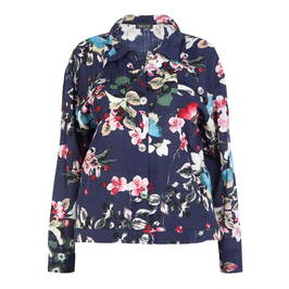 BEIGE LABEL CHERRY BLOSSOM PRINT JACKET NAVY - Plus Size Collection