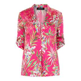 BEIGE LABEL SATIN TROPICAL PRINT JACKET  - Plus Size Collection