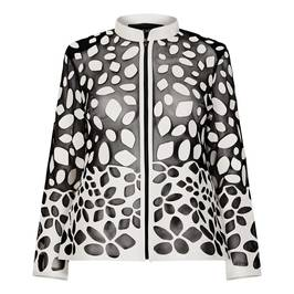 BEIGE LEATHER CUT-OUT JACKET BLACK AND WHITE - Plus Size Collection