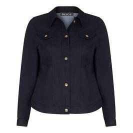 BEIGE DENIM JACKET BLACK - Plus Size Collection