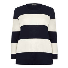 BEIGE LABEL STRIPE KNITTED TUNIC NAVY - Plus Size Collection