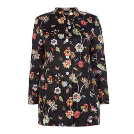 BEIGE LABEL BLACK LINED LINEN EMBROIDERED JACKET  - Plus Size Collection