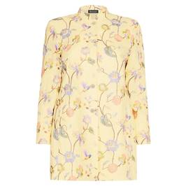 BEIGE LABEL LINEN EMBROIDERED FLORAL JACKET YELLOW - Plus Size Collection