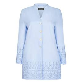 BEIGE LABEL LINEN JACKET WITH BRODERIE ANGLAIS BORDER PALE BLUE - Plus Size Collection