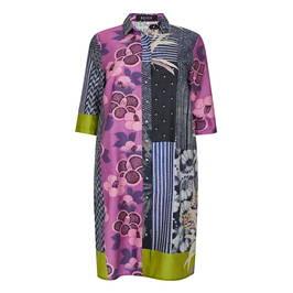 BEIGE PATCHWORK SHIRT DRESS - Plus Size Collection