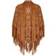 BEIGE fringed laser cut tan SHAWL