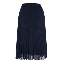 BEIGE NAVY PLEATED MIDI SKIRT - Plus Size Collection