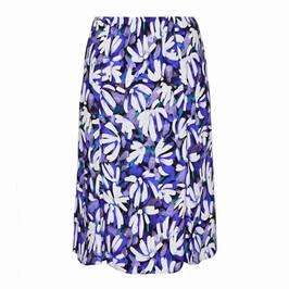 BEIGE FLORAL PRINT SKIRT BLUE - Plus Size Collection