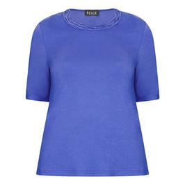 BEIGE T-SHIRT WITH PLAITED DIAMANTE NECKLINE BLUETTE - Plus Size Collection