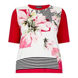BEIGE FLORAL AND STRIPE PRINT T-SHIRT - Plus Size Collection