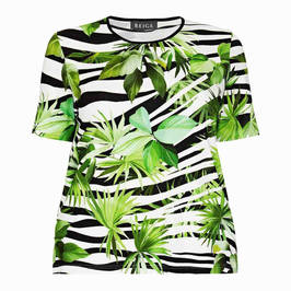 BEIGE LABEL PALM PRINT T-SHIRT GREEN - Plus Size Collection