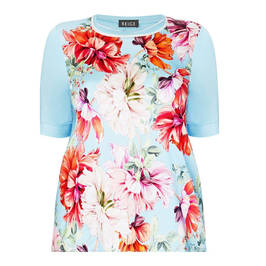 BEIGE LABEL FLORAL PRINT T-SHIRT TURQUOISE - Plus Size Collection