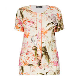 BEIGE LABEL FLORAL PRINT T-SHIRT KHAKI - Plus Size Collection