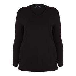 BEIGE LABEL V NECK TOP BLACK - Plus Size Collection