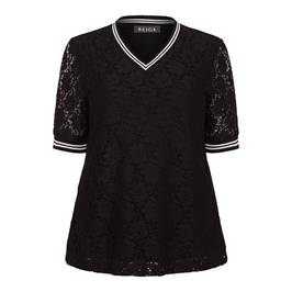 BEIGE LABEL LACE TOP WITH RACING STRIPES BLACK - Plus Size Collection