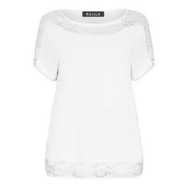 BEIGE TOP WITH LACE INSERT CREAM - Plus Size Collection
