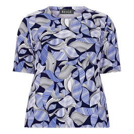 BEIGE ABSTRACT PRINT TOP BLUE - Plus Size Collection