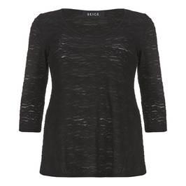 Beige semi sheer burnout top - black - Plus Size Collection