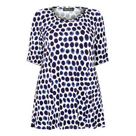 BEIGE LABEL STRETCH JERSEY FLARED TUNIC NAVY - Plus Size Collection