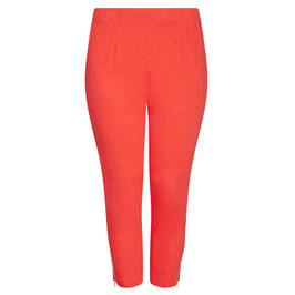 BEIGE LABEL PULL ON CROP TROUSER ZIP HEM POPPY RED - Plus Size Collection