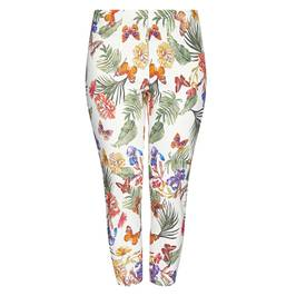 BEIGE PLUS PULL ON TROPICAL PRINT CROPPED TROUSERS - Plus Size Collection