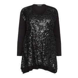 BEIGE LABEL SEQUIN EMBELLISHED TUNIC BLACK - Plus Size Collection