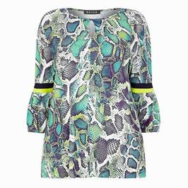 BEIGE LABEL SNAKESKIN PRINT TUNIC GREEN - Plus Size Collection