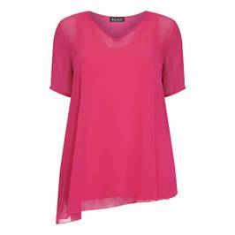 BEIGE LABEL V-NECK CHIFFON TUNIC CERISE - Plus Size Collection
