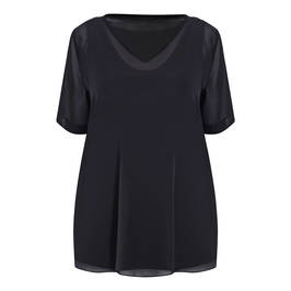 BEIGE LABEL V-NECK CHIFFON TUNIC BLACK - Plus Size Collection