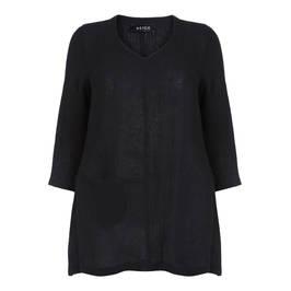 BEIGE LINEN TUNIC BLACK - Plus Size Collection