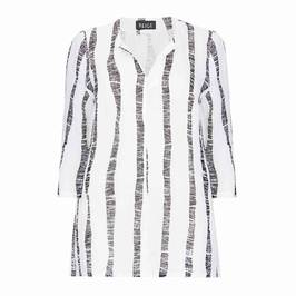 BEIGE WHITE AND BLACK STRIPE TUNIC - Plus Size Collection