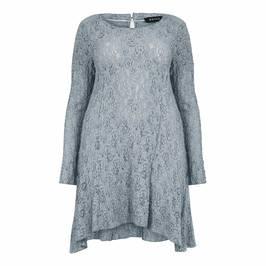 BEIGE LABEL GREY STRETCHY LACE A-LINE TUNIC - Plus Size Collection