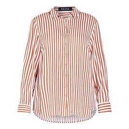 BEIGE SHIRT CANDY STRIPE PRINT SHIRT TAIL - Plus Size Collection