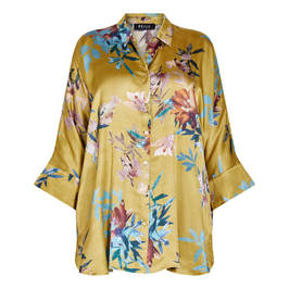 BEIGE PRINT SHIRT CHARTREUSE  - Plus Size Collection