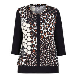 BEIGE PATCHWORK ANIMAL PRINT TOP - Plus Size Collection