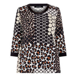 BEIGE LABEL LEOPARD AND ABSTRACT PATCHWORK TOP - Plus Size Collection