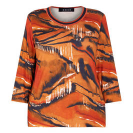 BEIGE LABEL JERSEY TOP PAINTERLY PRINT PUMPKIN - Plus Size Collection