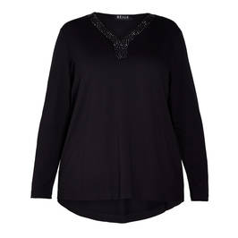 BEIGE JERSEY TOP EMBELLISHED COLLAR BLACK  - Plus Size Collection