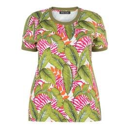 BEIGE LABEL LEAF PRINT TOP - Plus Size Collection