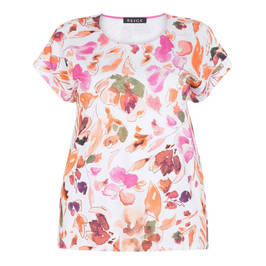BEIGE LABEL ORANGE FLORAL SCOOP NECK TOP - Plus Size Collection