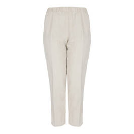 BEIGE FULL LENGTH PULL ON ELASTICATED WAIST TROUSER - Plus Size Collection
